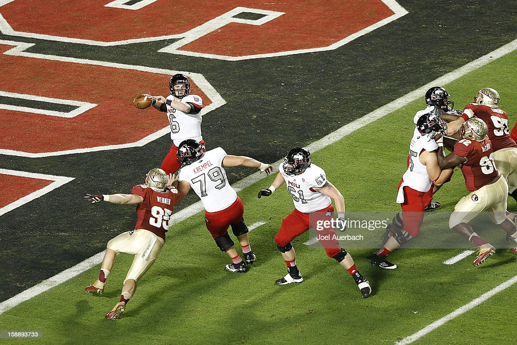 Jordan Lynch #6 of the Northern Illinois Huskies throws the ball out of the end zone against the Florida State Seminoles during the 2013 Discover Orange Bowl at Sun Life Stadium on January 1, 2013 in Miami, Florida. The Seminoles defeated the Huskies 31-10.