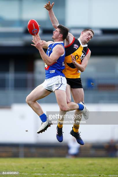 Jordan Lynch of the Ranges and Bailey Morrish of the Stingrays during the TAC Cup Final between Dandenong and Eastern Ranges at Victoria Park on...