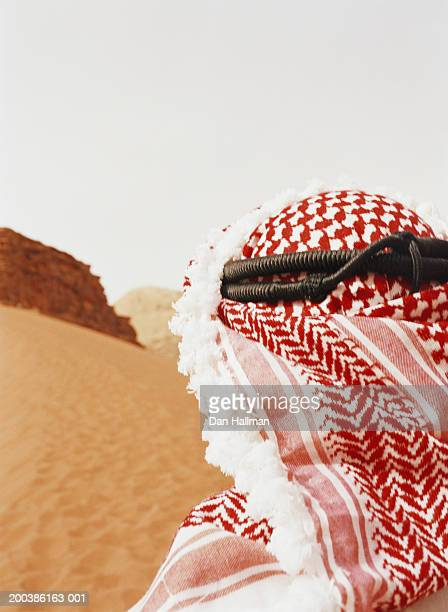 Jordan, man wearing kafiyeh, close-up, rear view
