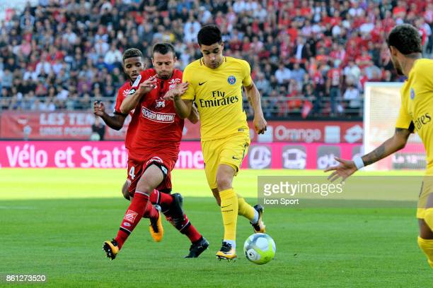 Jordan Marie of Dijon and Yuri berchiche of PSG during the Ligue 1 match between Dijon FCO and Paris Saint Germain at Stade Gaston Gerard on October...
