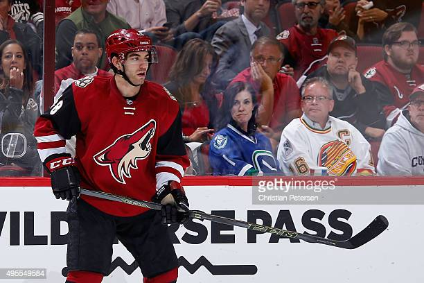 Jordan Martinook of the Arizona Coyotes during the NHL game against the Vancouver Canucks at Gila River Arena on October 30 2015 in Glendale Arizona