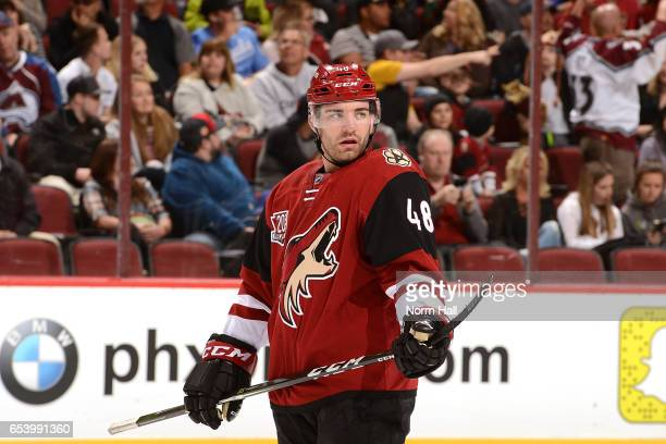 Jordan Martinook of the Arizona Coyotes looks up ice during a stop in play against the Colorado Avalanche at Gila River Arena on March 13 2017 in...