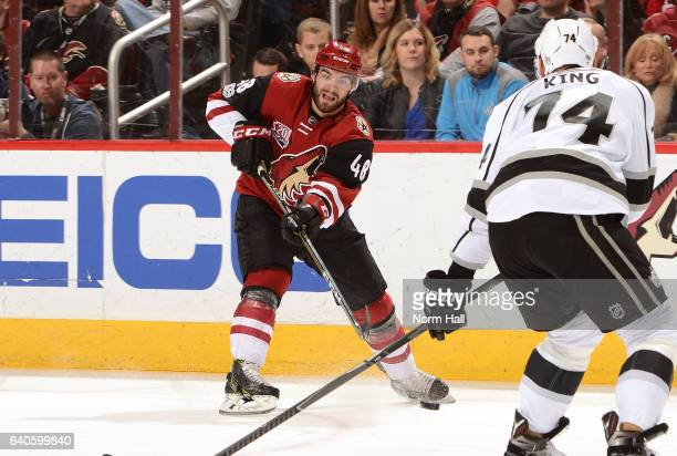 Jordan Martinook of the Arizona Coyotes passes the puck across the ice against the Los Angeles Kings at Gila River Arena on January 31 2017 in...