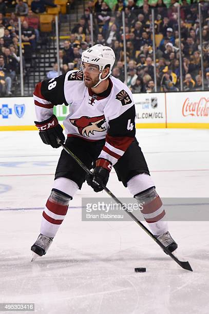 Jordan Martinook of the Arizona Coyotes skates against the Boston Bruins at the TD Garden on October 27 2015 in Boston Massachusetts