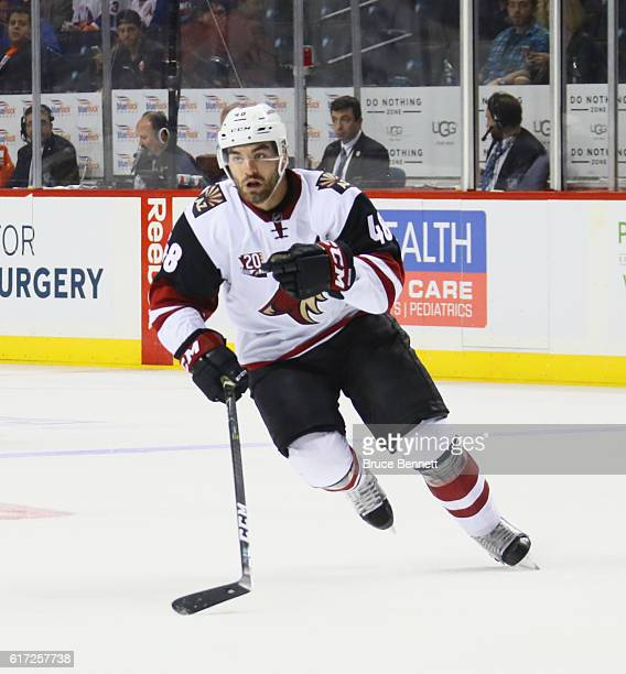 Jordan Martinook of the Arizona Coyotes skates against the New York Islanders at the Barclays Center on October 21 2016 in the Brooklyn borough of...