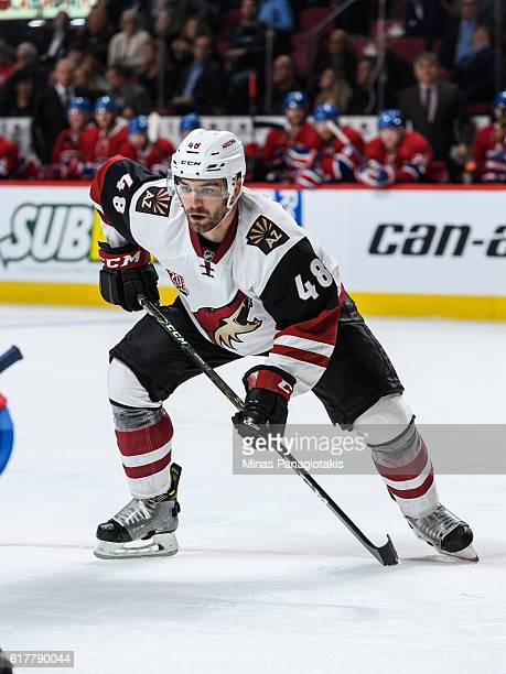 Jordan Martinook of the Arizona Coyotes skates during the NHL game against the Montreal Canadiens at the Bell Centre on October 20 2016 in Montreal...