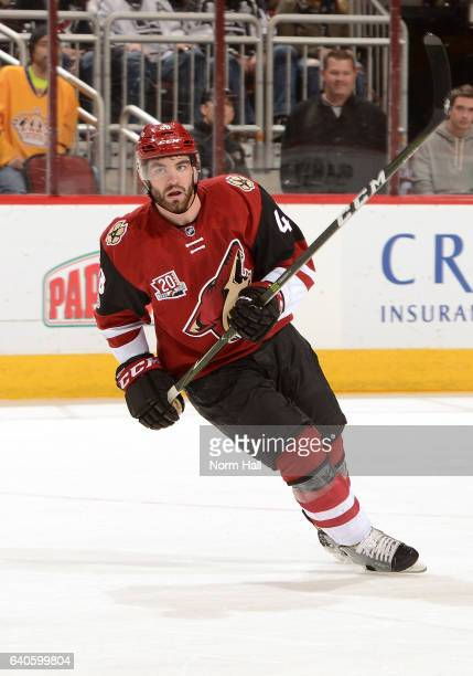 Jordan Martinook of the Arizona Coyotes skates up ice against the Los Angeles Kings at Gila River Arena on January 31 2017 in Glendale Arizona