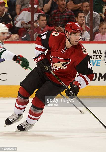 Jordan Martinook of the Arizona Coyotes skates up ice against the Minnesota Wild at Gila River Arena on October 15 2015 in Glendale Arizona