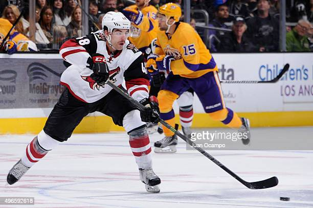 Jordan Martinook of the Arizona Coyotes skates with the puck against the Los Angeles Kings on November 10 2015 at Staples Center in Los Angeles...