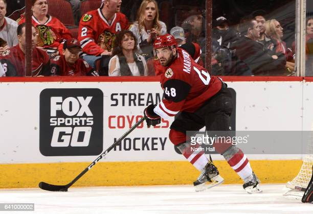 Jordan Martinook of the Arizona Coyotes skates with the puck against the Chicago Blackhawks at Gila River Arena on February 2 2017 in Glendale Arizona