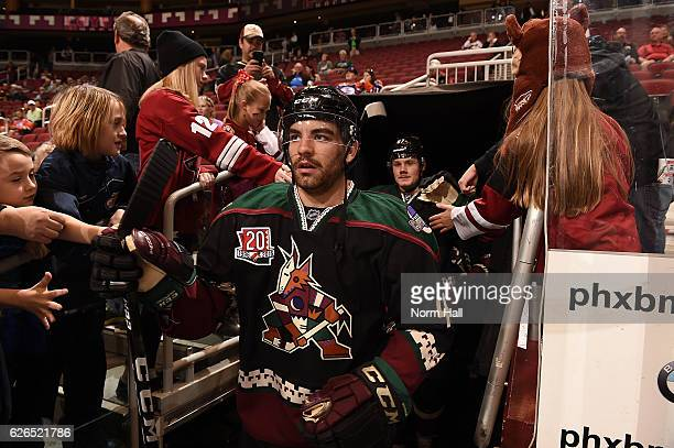 Jordan Martinook of the Arizona Coyotes takes to the ice in his Kachina jersey prior to a game against the Edmonton Oilers at Gila River Arena on...