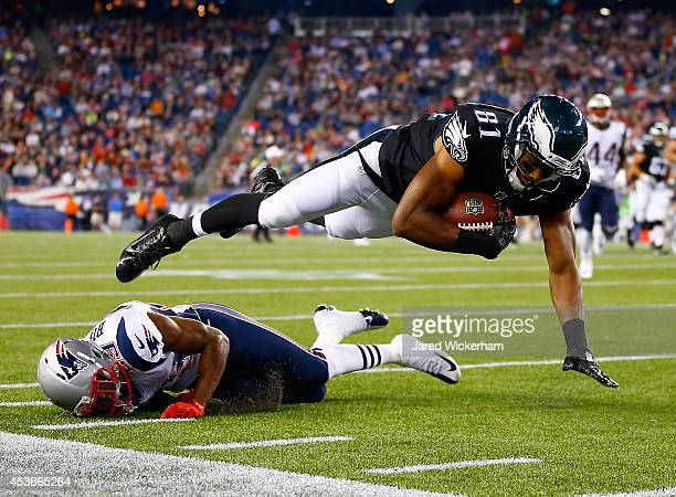 Jordan Matthews of the Philadelphia Eagles is tackled by Malcolm Butler of the New England Patriots in the second half during the preseason game at...