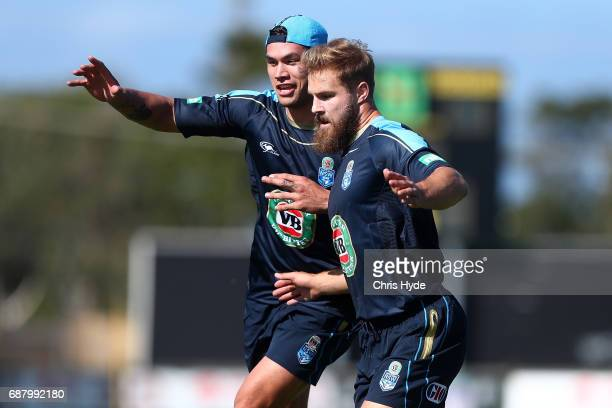 Jordan McLean and Jack De Belin during a New South Wales Blues State of Origin training session at Cudgen Leagues Club on May 25 2017 in Kingscliff...