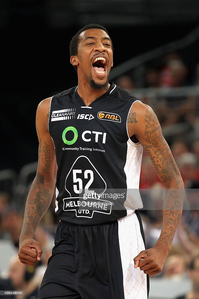 Jordan McRae of Melbourne reacts after making a basket during the round seven NBL match between Melbourne United and the Perth Wildcats at Hisense Arena on November 23, 2014 in Melbourne, Australia.