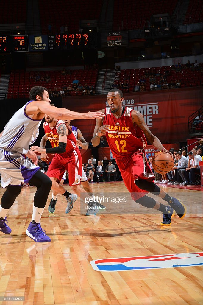 Jordan McRae of the Cleveland Cavaliers drives to the basket against the Los Angeles Lakers during the 2016 NBA Las Vegas Summer League game on July...