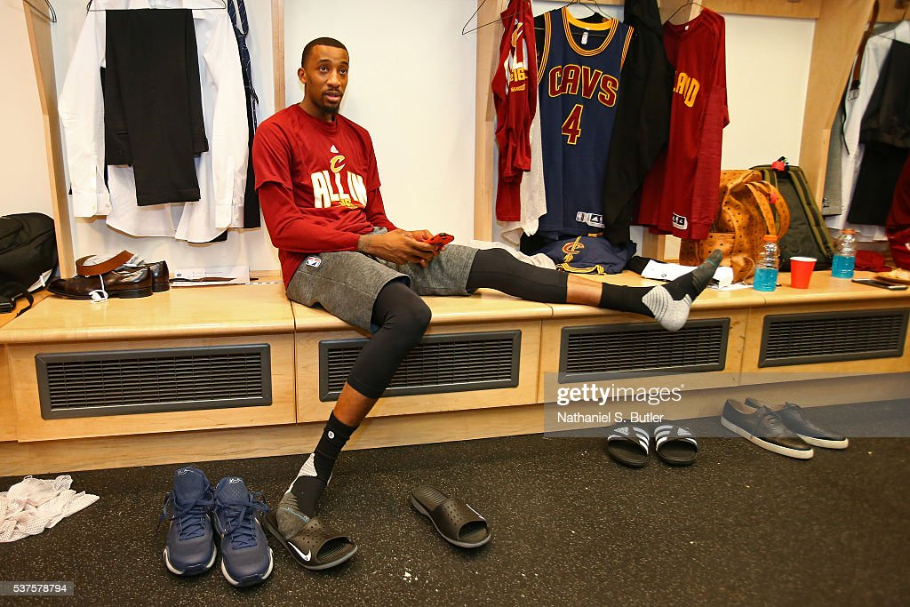 <a gi-track='captionPersonalityLinkClicked' href=/galleries/search?phrase=Jordan+McRae&family=editorial&specificpeople=7362664 ng-click='$event.stopPropagation()'>Jordan McRae</a> #12 of the Cleveland Cavaliers gets ready before Game Six of the NBA Eastern Conference Finals against the Toronto Raptors at Air Canada Centre on May 27, 2016 in Toronto, Ontario, Canada.