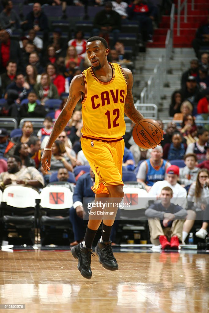 Jordan McRae of the Cleveland Cavaliers handles the ball against the Washington Wizards on February 28 2016 at Verizon Center in Washington DC NOTE...