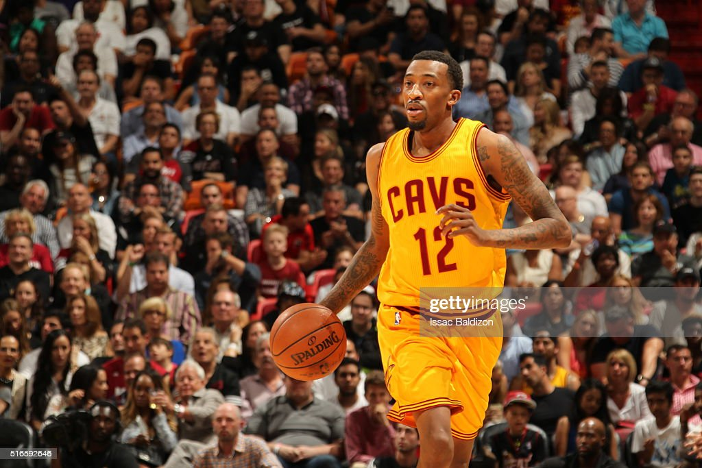 Jordan McRae of the Cleveland Cavaliers handles the ball against the Miami Heat on March 19 2016 at AmericanAirlines Arena in Miami Florida NOTE TO...