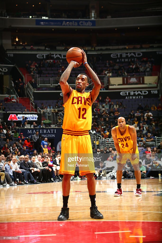 Jordan McRae of the Cleveland Cavaliers shoots a free throw against the Washington Wizards on February 28 2016 at Verizon Center in Washington DC...