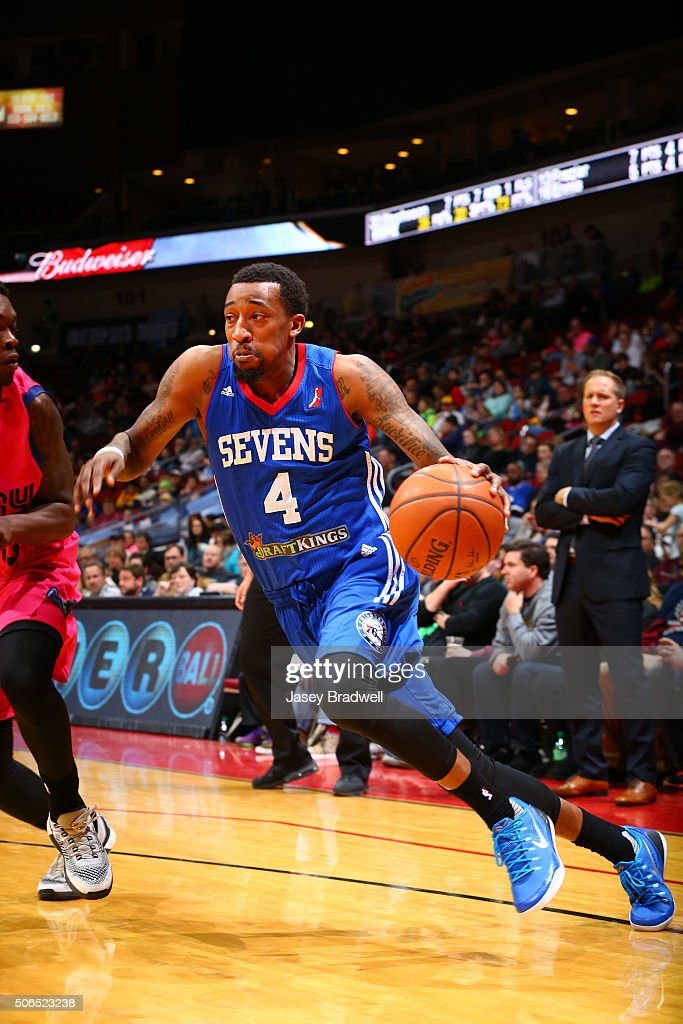 Jordan McRae of the Delaware 87ers drives along the baseline against the Iowa Energy in an NBA DLeague game on January 23 2016 at the Wells Fargo...