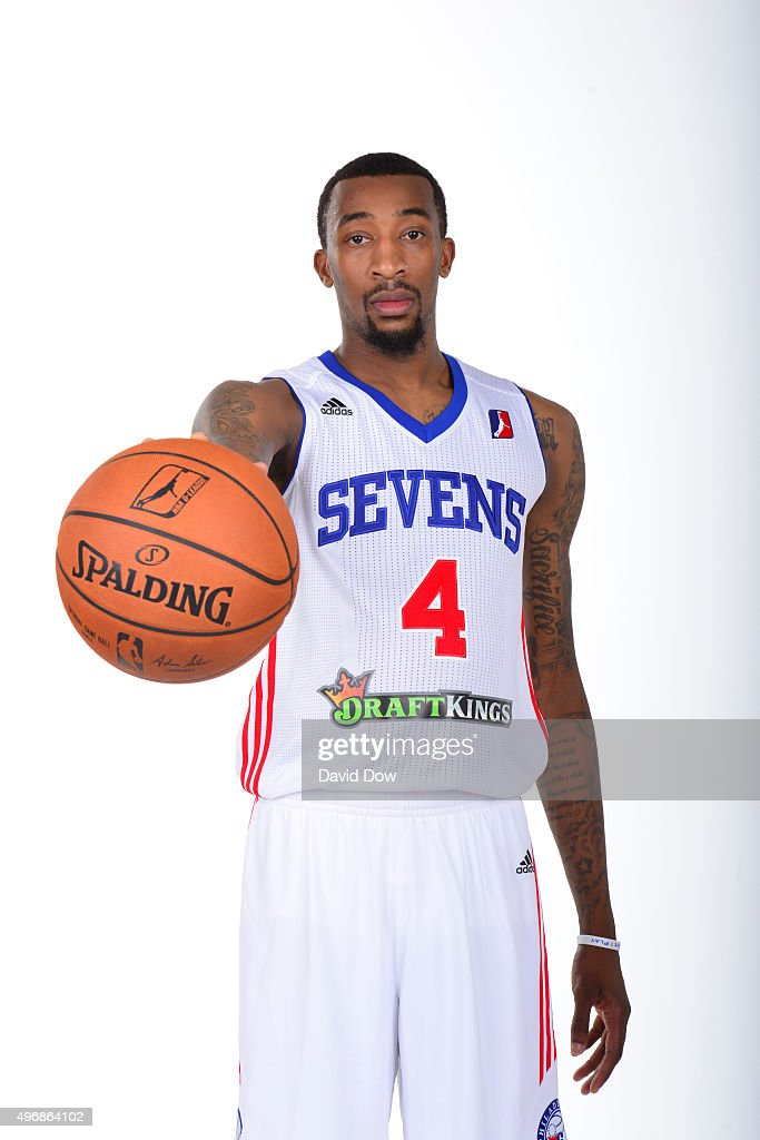 Jordan McRae of the Delaware 87ers poses for a photo during Media Day on November 10 2015 at the Delaware Tech Collage in Newark Delaware NOTE TO...