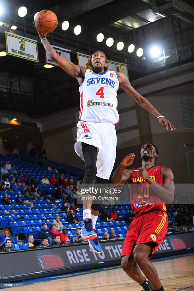 Jordan McRae of the Deleware 87ers dunks the ball against the Fort Wayne Mad Ants at the Bob Carpenter Center on December 9 2015 in Newark Deleware...