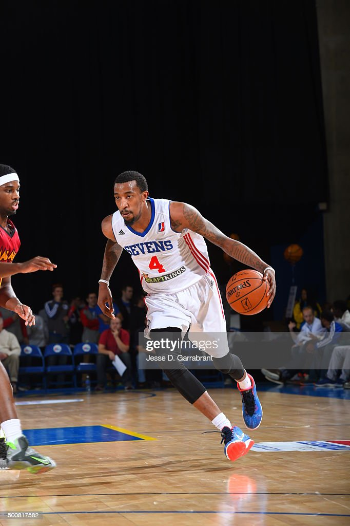 Jordan McRae of the Deleware 87ers handles the ball against the Fort Wayne Mad Ants at the Bob Carpenter Center on December 9 2015 in Newark Deleware...