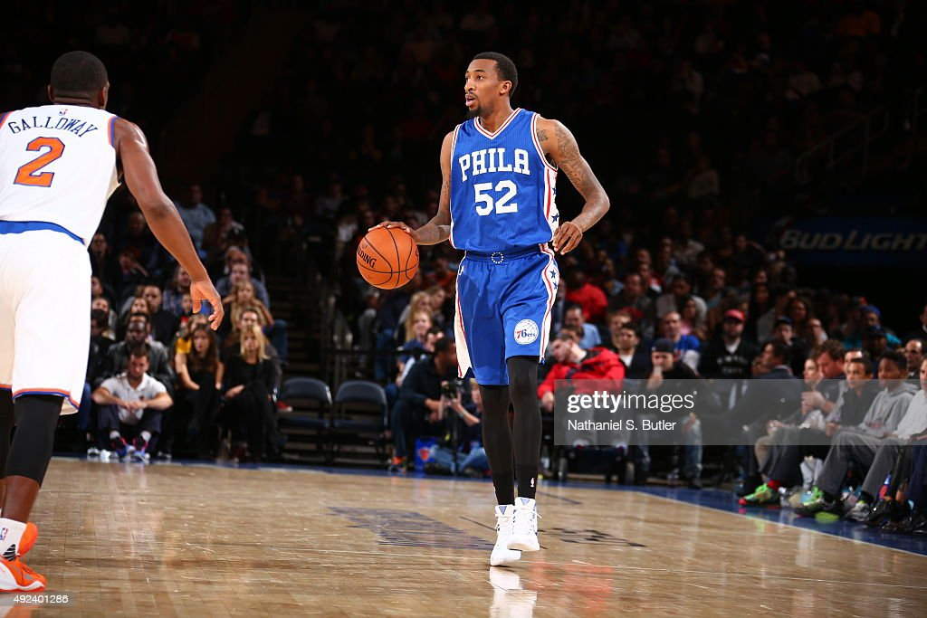 Jordan McRae of the Philadelphia 76ers brings the ball up court against the New York Knicks on October 12 2015 at Madison Square Garden in New York...
