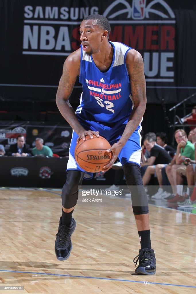 Jordan McRae of the Philadelphia 76ers handles the ball against the Chicago Bulls on July 16 2014 at the Cox Pavilion in Las Vegas Nevada NOTE TO...