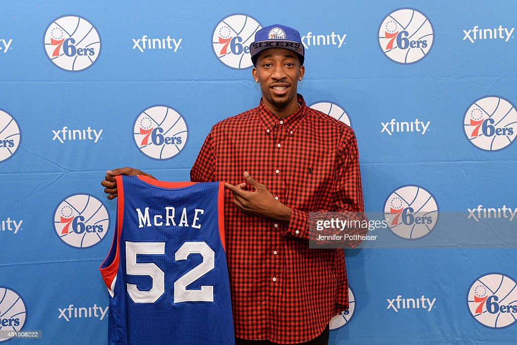 Jordan McRae of the Philadelphia 76ers poses for a photo after being drafted by the Philadelphia 76ers at the Wells Fargo Center on June 28 2014 in...