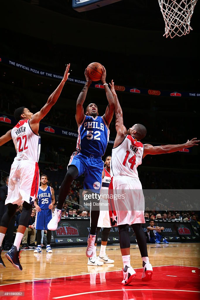 Jordan McRae of the Philadelphia 76ers shoots against the Washington Wizards during a preseason game on October 6 2015 at Verizon Center in...