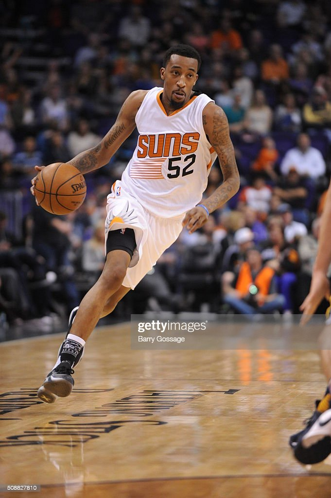 <a gi-track='captionPersonalityLinkClicked' href=/galleries/search?phrase=Jordan+McRae&family=editorial&specificpeople=7362664 ng-click='$event.stopPropagation()'>Jordan McRae</a> #52 of the Phoenix Suns drives to the basket against the Utah Jazz on February 6, 2016 at Talking Stick Resort Arena in Phoenix, Arizona.