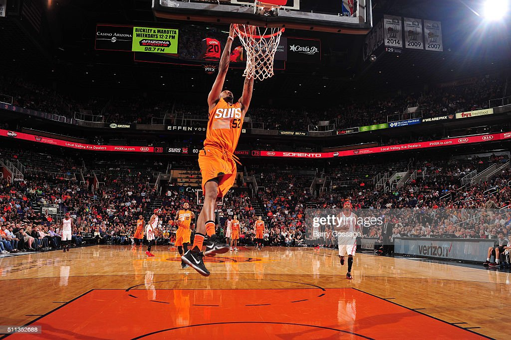 Jordan McRae of the Phoenix Suns goes up for a dunk against the Houston Rockets on February 19 2016 at Talking Stick Resort Arena in Phoenix Arizona...