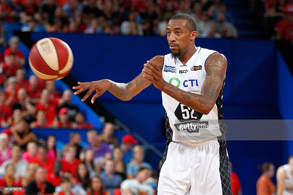 Jordan McRae of United passes the ball during the round 15 NBL match between the Perth Wildcats and Melbourne United at Perth Arena on January 21...