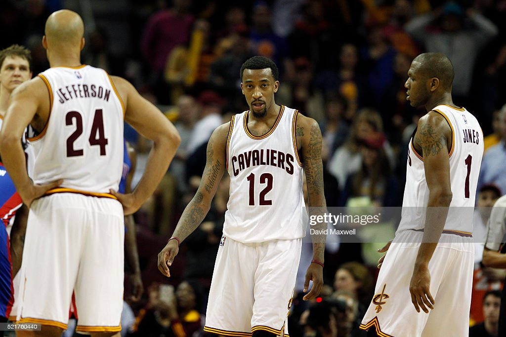 Jordan McRae Richard Jefferson and James Jones of the Cleveland Cavaliers leave the court at the conclustion of the game against the Detroit Pistons...
