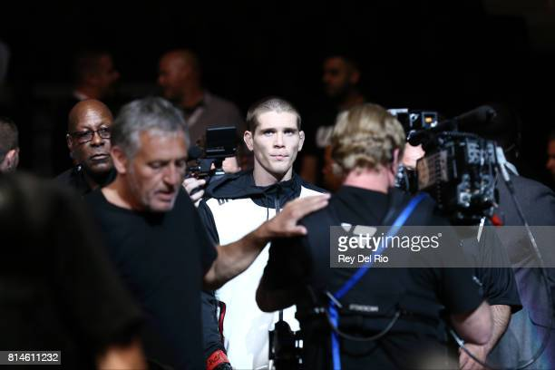 Jordan Mein enters the Octagon before facing Belal Muhammad in their welterweight bout during the UFC 213 event at TMobile Arena on July 9 2017 in...