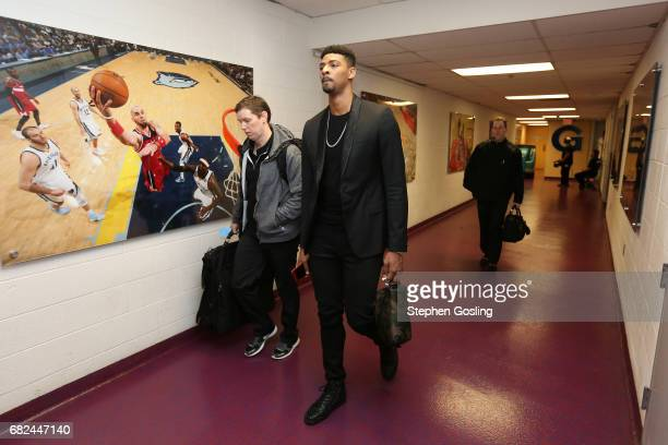 Jordan Mickey of the Boston Celtics arrives to the arena before the game against the Washington Wizards during Game Six of the Eastern Conference...