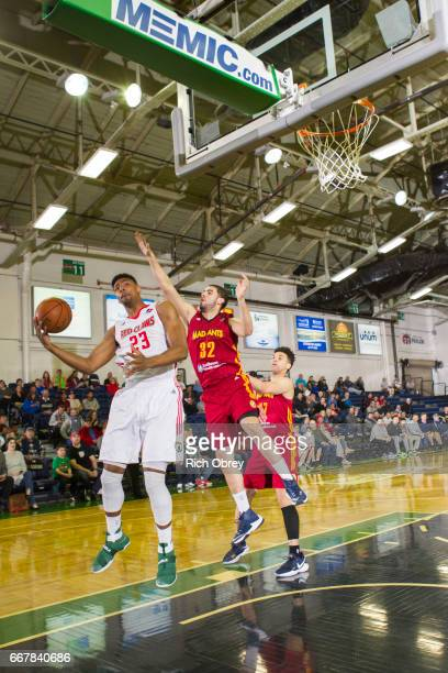 Jordan Mickey of the Maine Red Claws gathers in a pass while defended by Georges Niang of the Ft Wayne Mad Ants in Game 3 of their first round...