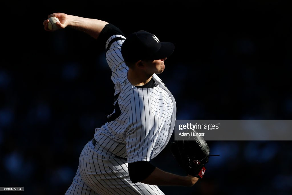Jordan Montgomery #47 of the New York Yankees pitches against the Toronto Blue Jays during the fourth inning at Yankee Stadium on October 1, 2017 in the Bronx borough of New York City.