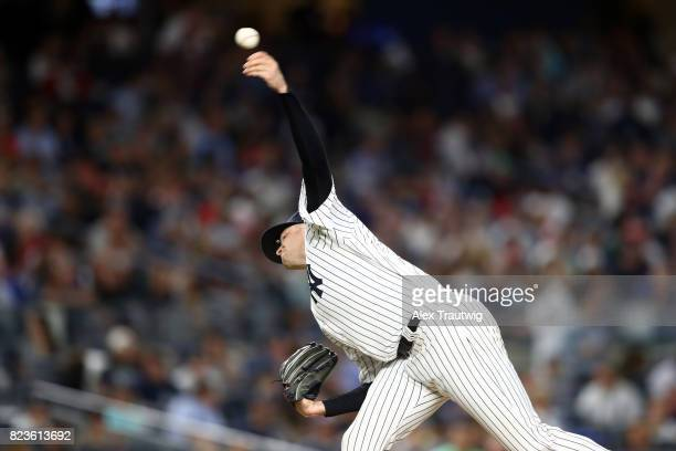 Jordan Montgomery of the New York Yankees pitches during the game against the Cincinnati Reds at Yankee Stadium on Tuesday July 2017 in the Bronx...