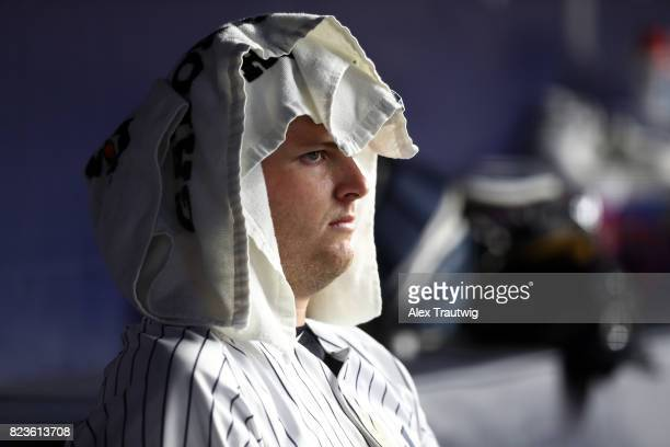 Jordan Montgomery of the New York Yankees sits in the dugout during the game against the Cincinnati Reds at Yankee Stadium on Tuesday July 2017 in...