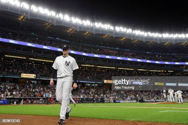 Jordan Montgomery of the New York Yankees walks to the dugout during the game against the Cincinnati Reds at Yankee Stadium on Tuesday July 2017 in...