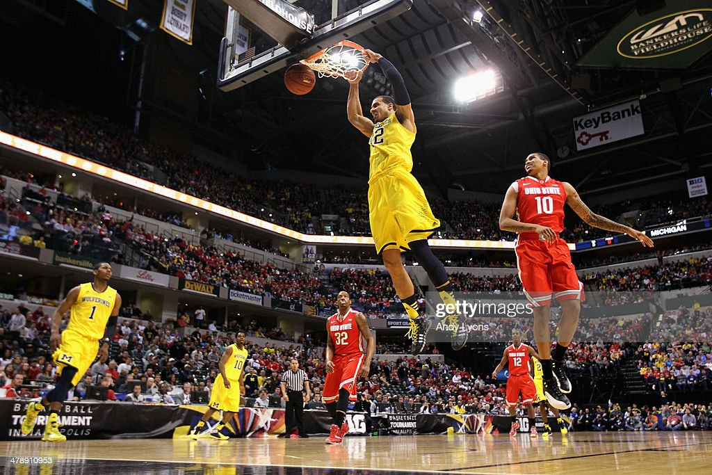 Jordan Morgan #52 of the Michigan Wolverines dunks the ball during the first half of the Big Ten Basketball Tournament Semifinal game against the Ohio State Buckeyes at Bankers Life Fieldhouse on March 15, 2014 in Indianapolis, Indiana.