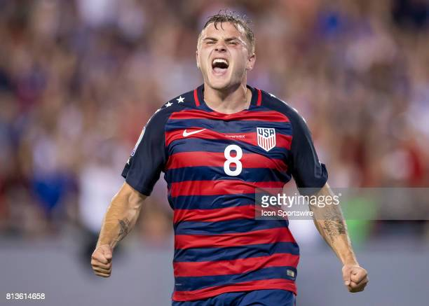 Jordan Morris celebrates USA Goal during the CONCACAF Gold Cup soccer match between USA and Martinique on July 12 2017 at Raymond James Stadium in...