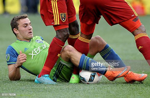 Jordan Morris of Seattle Sounders FC tries for the ball tackle against Real Salt Lake in the second half at Rio Tinto Stadium on March 12 2016 in...