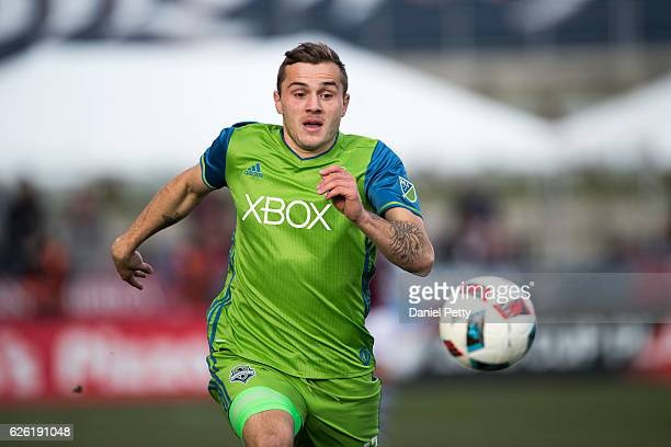Jordan Morris of Seattle Sounders goes after the ball during the first half of the second leg of the Western Conference Finals at Dick's Sporting...