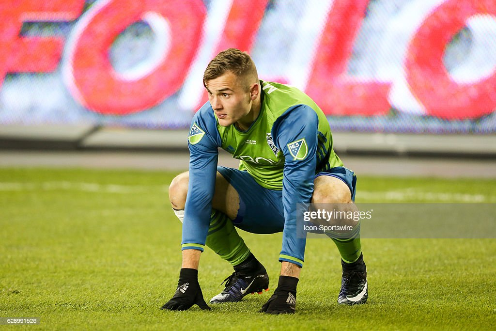 Jordan Morris #13 of Seattle Sounders reacts to no call being called on the play against Toronto FC during the first half on December 10, 2016, at BMO Field in Toronto, ON, Canada.
