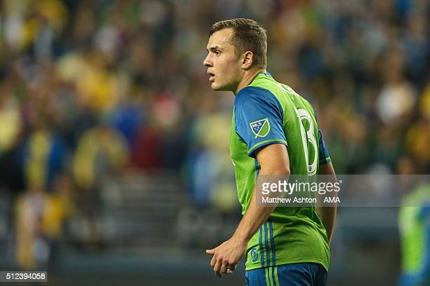 Jordan Morris of the Seattle Sounders during the CONCACAF Champions League match between Seattle Sounders and Club America at CenturyLink Field on...