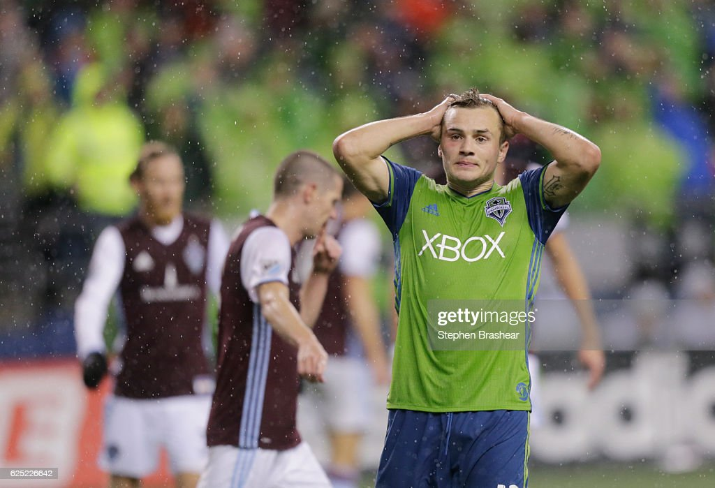 Jordan Morris #13 of the Seattle Sounders reacts to a missed shot during the second half of a match against the Colorado Rapids in the first leg of the Western Conference Finals at CenturyLink Field on November 22, 2016 in Seattle, Washington. The Sounders won the match 2-1.