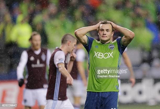 Jordan Morris of the Seattle Sounders reacts to a missed shot during the second half of a match against the Colorado Rapids in the first leg of the...